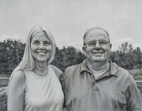 "Partners for Life, 18"" x 24"", charcoal on paper"