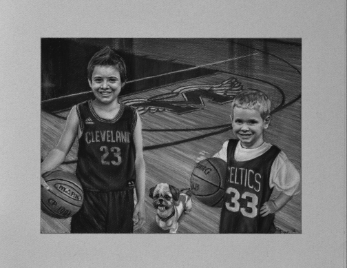Ballers, Heath Thomas commission, charcoal on paper, 9in x 12 in