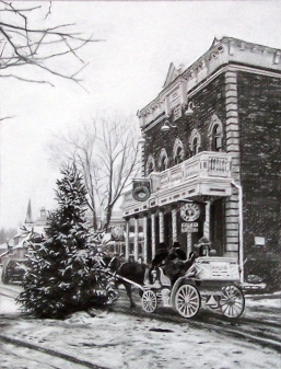 "Main Street, charcoal on paper, 14"" x 11"""