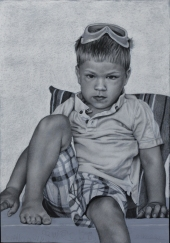 My Son, 26.75 in x 18.75 in, charcoal on pastel paper