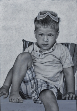 My Son, 26.75 in x 18.75 in, charcoal on pastel paper, 2016