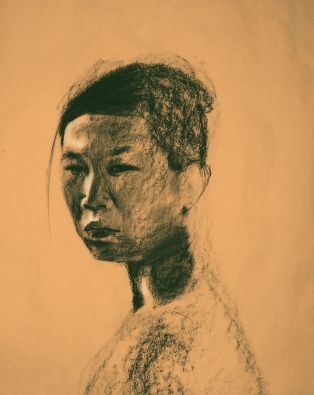 The Glance, charcoal on paper, 24in x 18in, 2007