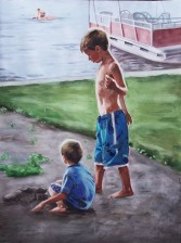 """Summer At The Lake, watercolor on paper, 24"""" x 18"""", 2009"""