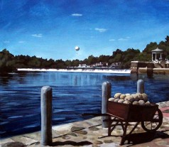 Boat House Row, watercolor, 16in x19in, 2009