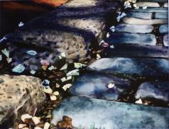 Cobblestones and Confetti, watercolor on paper,16in x 21in, 2008