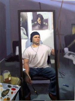 "self portrait, 24"" x 36"", oil on canvas"