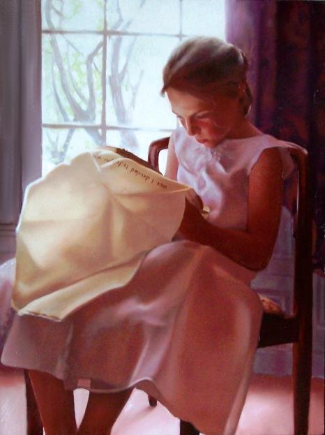 """Needlepoint, 36"""" x 48"""", oil on canvas"""