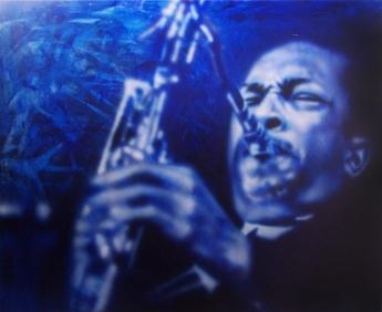 "Coltrane, 60"" x 48"", acrylic on canvas"