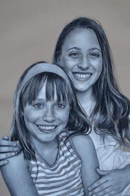 "Big Brothers and Sisters of Indiana, charcoal on pastel paper, 26"" x 19"""
