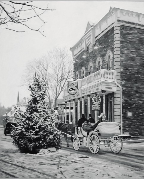 Christmas on Main Street, 17 x 14in, charcoal on pastel paper