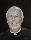 "Msgr. Schaedel, 17"" x 13"", charcoal on pastel paper"