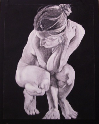 8. Beginning Life Drawing, 18in x 12in, charcoal on board