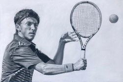 "Match Point, 12"" x 18"", charcoal on pastel paper"